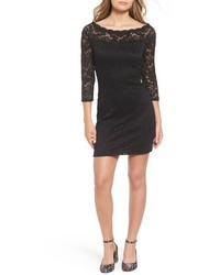 Secret charm bateau neck lace body con dress medium 801743