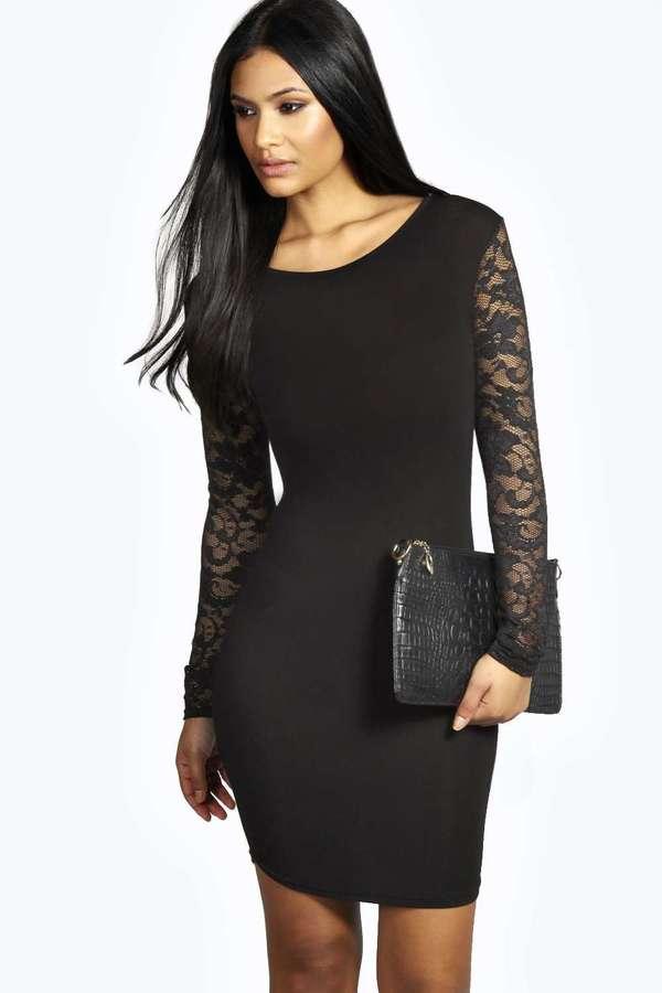 Cheap black lace bodycon dress