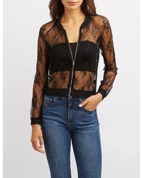 Charlotte Russe Lace Bomber Jacket