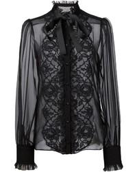 Dolce & Gabbana Floral Lace Bib Blouse