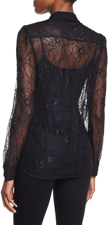 20a15c21778 Diane von Furstenberg Mariah Long Sleeve Lace Blouse Black, $328   Neiman  Marcus   Lookastic.com
