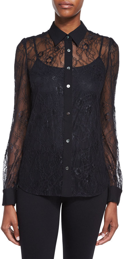 d15fe7230c2 Diane von Furstenberg Mariah Long Sleeve Lace Blouse Black, $328 ...