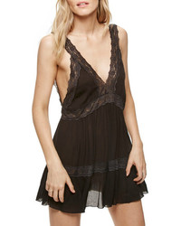 Free People Look Of Love Lace Trim Slip Dress