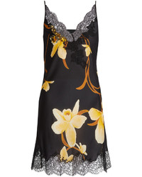 Carine Gilson Orchid Print Silk Satin Cami Dress