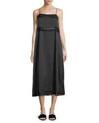 Robert Rodriguez Square Neck Silk Slip Dress W Lace Trim