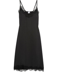 Iris and Ink Wilfred Lace Trimmed Satin Twill Slip Dress
