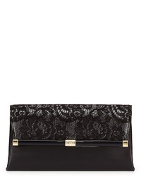 Diane von Furstenberg 440 Laceleather Evening Clutch Bag Blackanthracite
