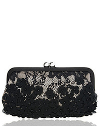 Nina Beaded Floral Lace Satin Clutch