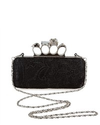 Bundle Monster Bmc Fashion Brass Knuckle Design Handle Lace Crochet Cocktail Clutch Black