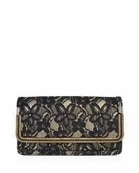 Judith Leiber Couture Lenox Lace Crystal Trim Clutch Bag Blackgold