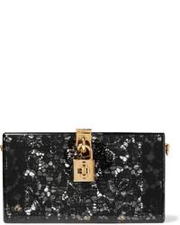 Dolce & Gabbana Lace And Perspex Box Clutch Black