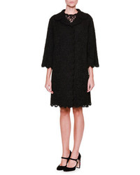Dolce & Gabbana 34 Sleeve Lace Topper Coat Black