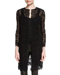 Ralph Lauren Collection Bracelet Sleeve Guipure Lace Coat Black
