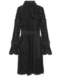 Sacai Grosgrain Trimmed Lace Coat Black