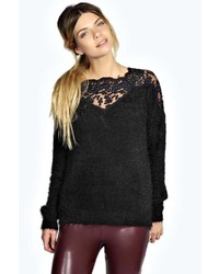 Black Lace Crew-neck Sweater