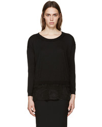 Ann Demeulemeester Black Knit And Lace Annick Sweater