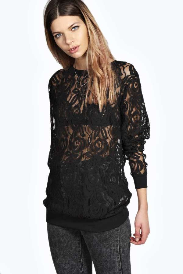 Boohoo Boutique Hope All Over Premium Lace Sweater | Where to buy ...