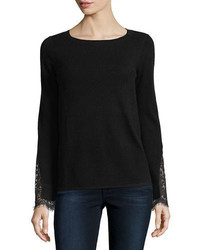 Neiman Marcus Cashmere Collection Lace Cuff Cashmere Crewneck Sweater