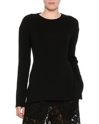 Ribbed wool lace back sweater black medium 3719297