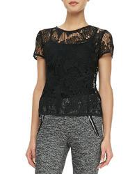 Black Lace Crew-neck T-shirt