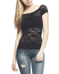 Arden b stretchy knit lace cap sleeve tee medium 33745
