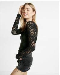 Express Fitted Crew Neck Lace Tee