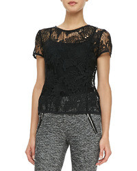 Rebecca Taylor Short Sleeve Floral Lace Tee