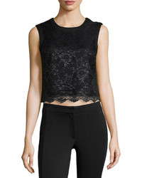 5twelve Floral Lace Cropped Top Black