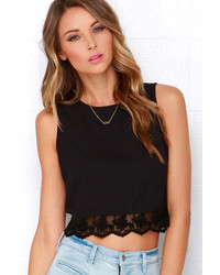 Alythea Baltic Border Coral Red Lace Crop Top