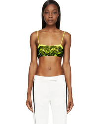 Christopher Kane Black And Chartreuse Lace Overlay Bralette