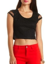 Charlotte Russe Cap Sleeve Lace Crop Top
