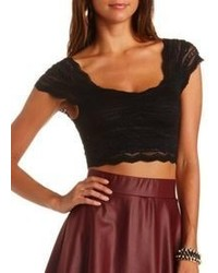 b1ca7f4aaffb09 ... Charlotte Russe Cap Sleeve Scalloped Lace Crop Top