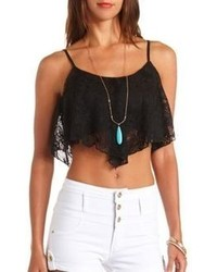 Charlotte Russe Crochet Lace Swing Crop Top