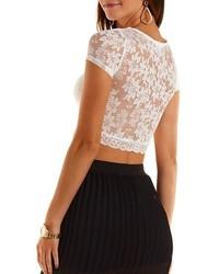 b434ba52394 Charlotte Russe Short Sleeve Lace Crop Top, $12 | Charlotte Russe ...