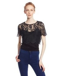 Glamorous Crop Short Sleeve Lace Top