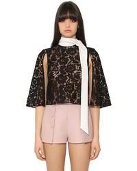 Valentino Heavy Lace Cady Cropped Cape Top