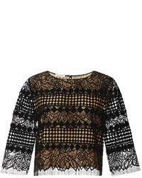 Oscar de la Renta Jewel Neck Cropped Blouse
