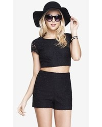 Express Lace Cap Sleeve Cropped Tee Black