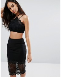 Rare London Mesh Zig Zag Lace Crop Top