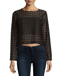 Neiman Marcus Long Sleeve Cropped Lace Jersey Top Black