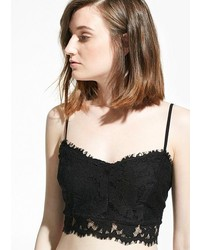Mango Outlet Cropped Lace Top