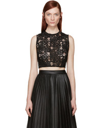 McQ by Alexander McQueen Mcq Alexander Mcqueen Black Lace Cropped Top