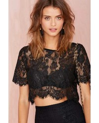 Nasty Gal Factory Persuasion Lace Crop Top