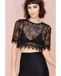 Nasty Gal Factory Wink Back Lace Crop Tee