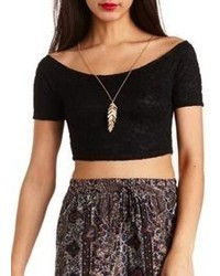 Charlotte Russe Off The Shoulder Lace Crop Top