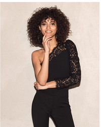 Express One Shoulder Lace Pieced Cropped Top