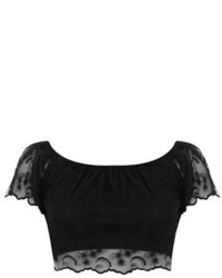 Miss Selfridge Petite Semi Sheer Lace Cropped Top