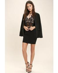 Lush Provocateur Beige And Black Lace Crop Top