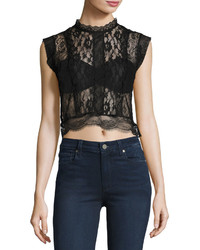 Romeo & Juliet Couture Sheer Lace Paneled Crop Top Black