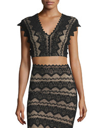 Nightcap Clothing Sierra Lace Crop Top Black